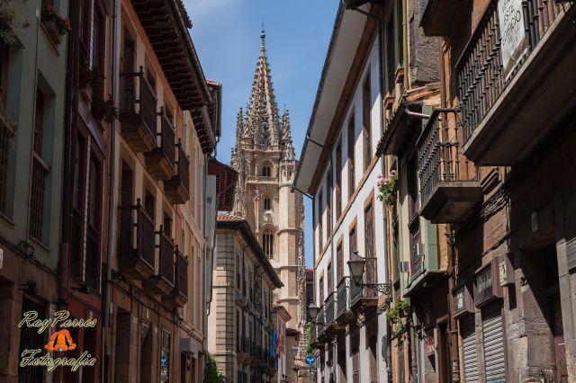 Catedral vista desde la Calle Mon de Oviedo, Asturias. España