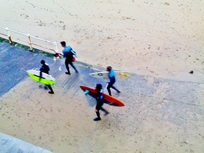 surfistas de invierno