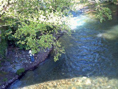 a la pesca del salmon, rio Ibias